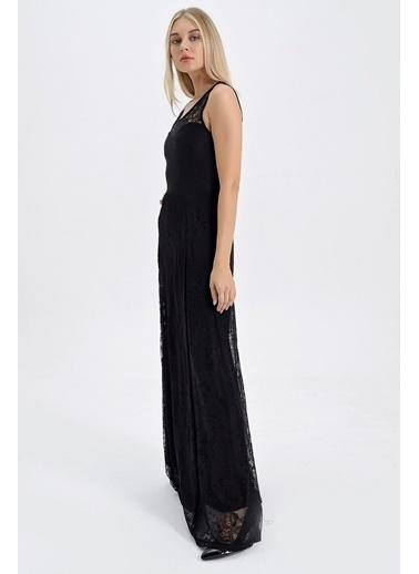 Jument Dantel Kayık Yaka Kolsuz Uzun Elbise  Siyah